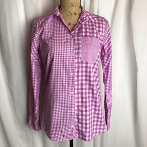 J Crew Boy Fit Gingham Cocktail Boyshirt